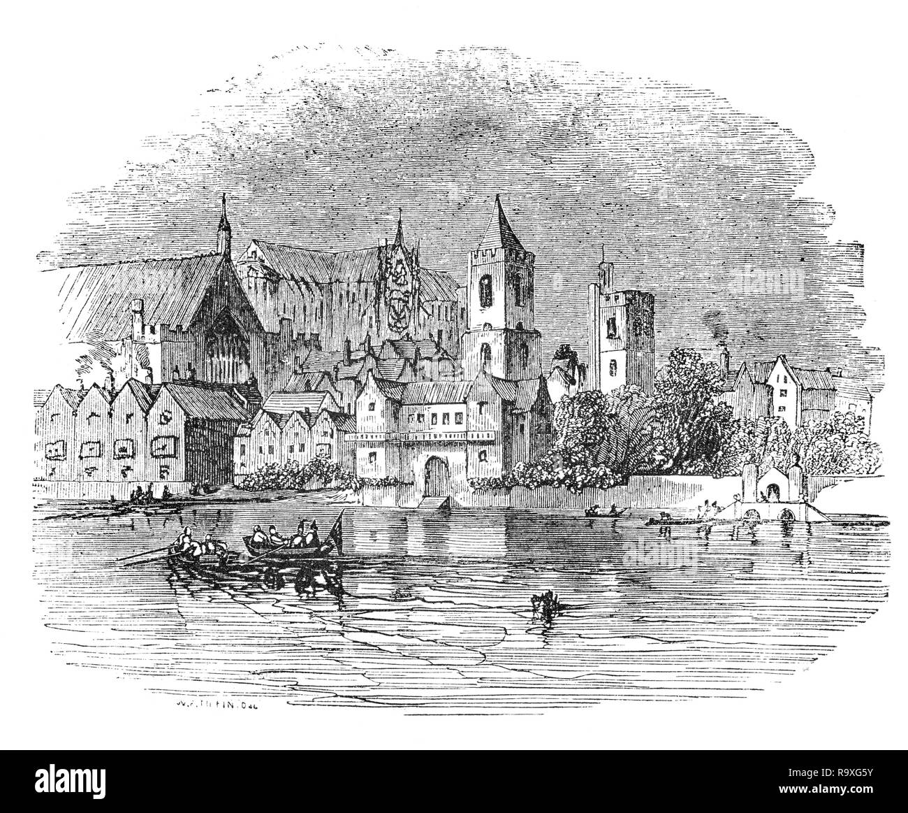 Sketched around 1660, from the River Thames, the settlement that grew up around Westminster Abbey, the royal palace, and Parliament that came to be known as Westminster was part of the County of Middlesex and separate from the City of London. - Stock Image