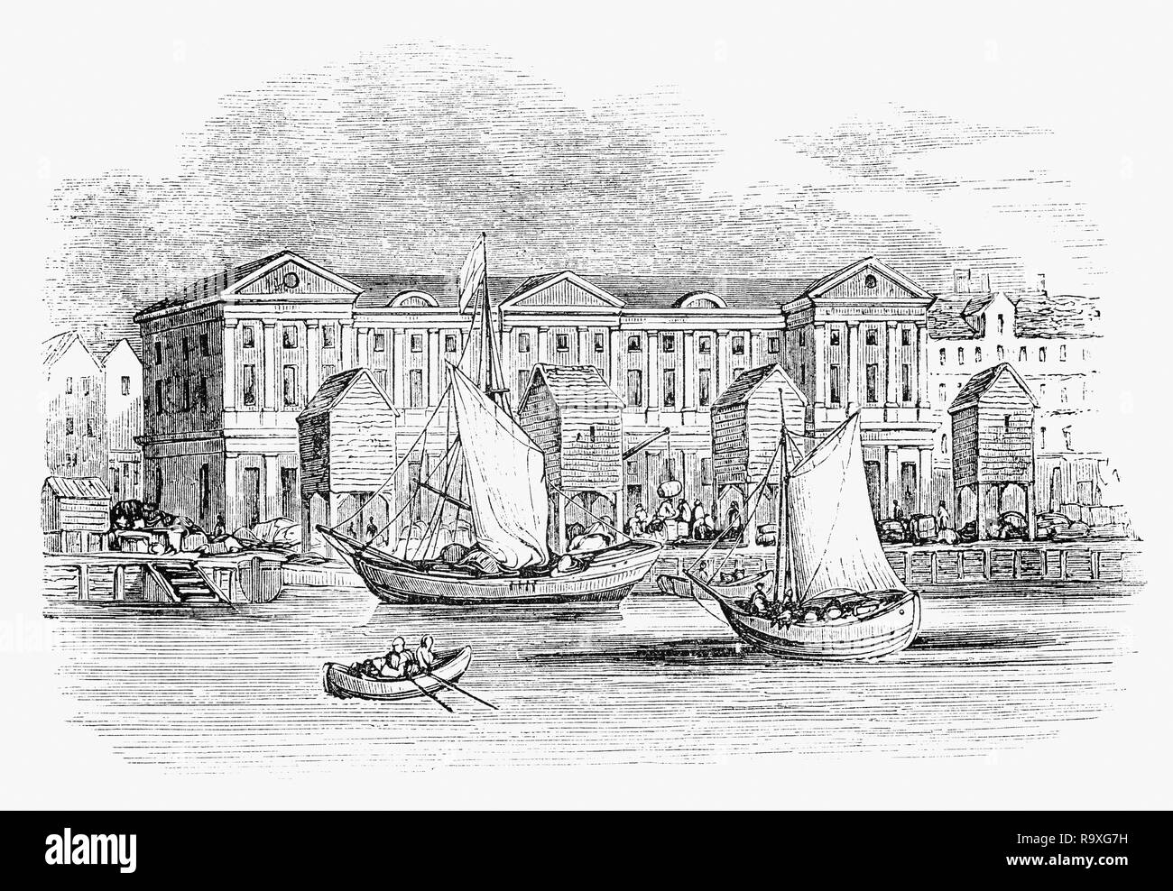 Around 1380, one John Churchman built a custom house on a site on the banks of the River Thames, known as Wool Quay  to collect dues for the City of London, England. In 1382 the Crown came to an agreement to use its facilities. It remained in use until 1559, the freehold passing through various hands. A replacement was erected under the direction of William Paulet, Marquess of Winchester, the Lord High Treasurer in the 17th Century but it was destroyed in the Great Fire of 1666. - Stock Image