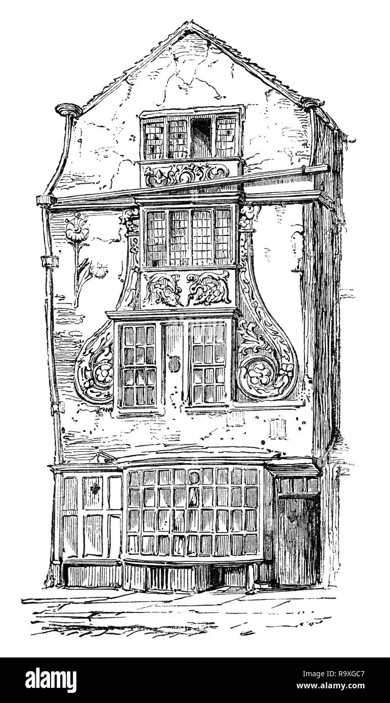 A highly decorative house in early 17th Century Moorfields,  one of the last pieces of open land in the City of London, near the Moorgate.  After the Great Fire of London in 1666, refugees from the fire evacuated there and set up temporary camps there. King Charles II of England encouraged the dispossessed to move on and leave London, but it is unknown how many newly impoverished and displaced persons instead settled in the Moorfields area. In the early 18th century, Moorfields was the site of sporadic open-air markets, shows, and vendors/auctions. - Stock Image