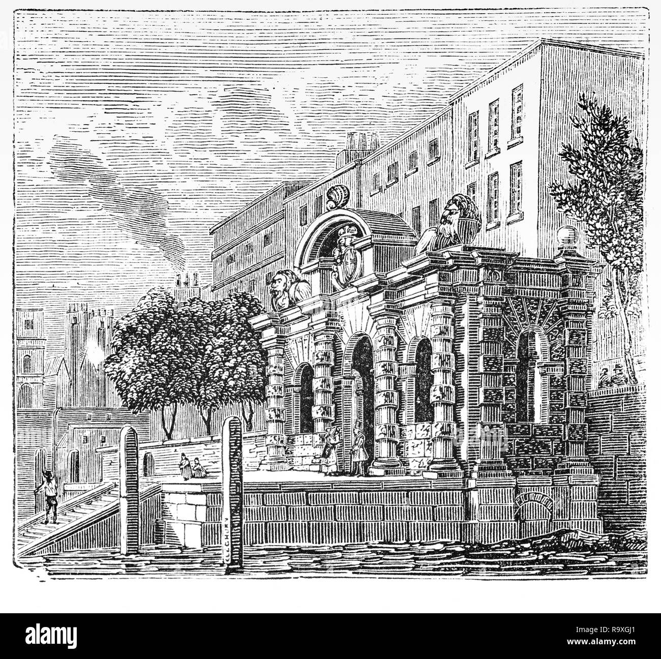 The Water-Gate entrance to York House (formerly Norwich Place or Norwich Palace) was one of a string of mansion houses which formerly stood on the Strand, the principal route from the City of London to the Palace of Westminster. In the 1620s it was acquired by the royal favourite George Villiers, 1st Duke of Buckingham, and after an interlude during the English Civil War it was returned to George Villiers, 2nd Duke of Buckingham, who sold it to developers in 1672. - Stock Image
