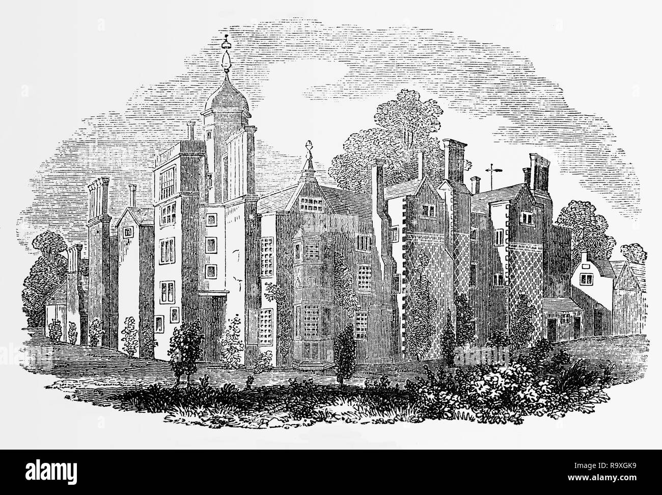Hindlip aka Hendlip Hall in Worcestershire, England was built before 1575. It played a significant role in both the Babington and the Gunpowder plots (where it hid four people in priest holes, who were eventually executed).  The old hall was destroyed by fire and was demolished in 1820. - Stock Image