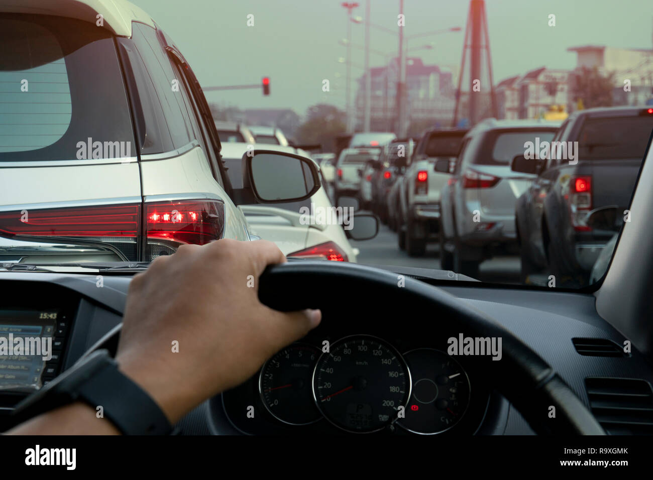 People Driving Inside Car And Many Cars On The Road Jam In Traffic Junction By Red Light Control Rush Hour In Thailand On Day Stock Photo Alamy