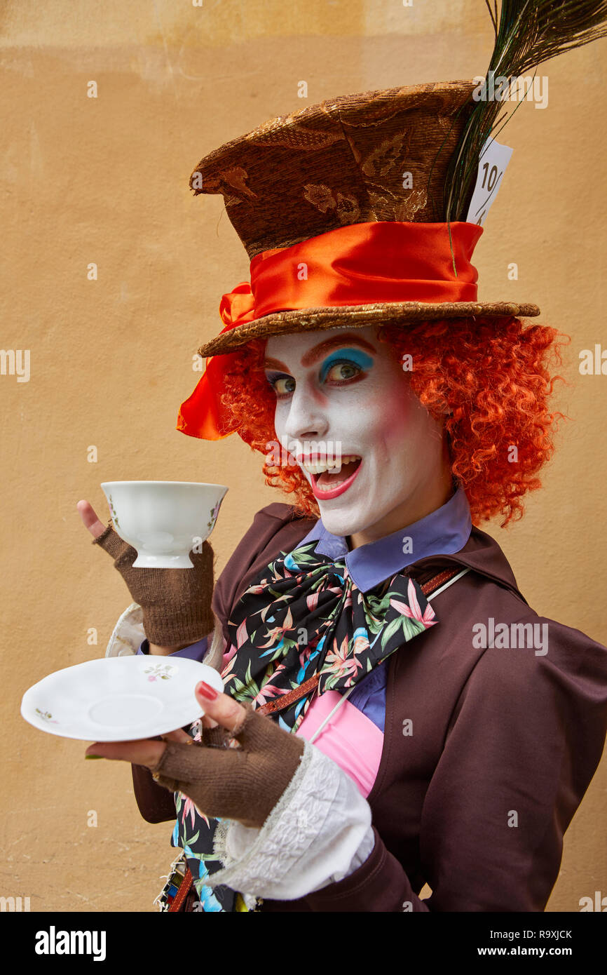 Cosplay of the Mad Hatter at Lucca Comics 2018 - Stock Image