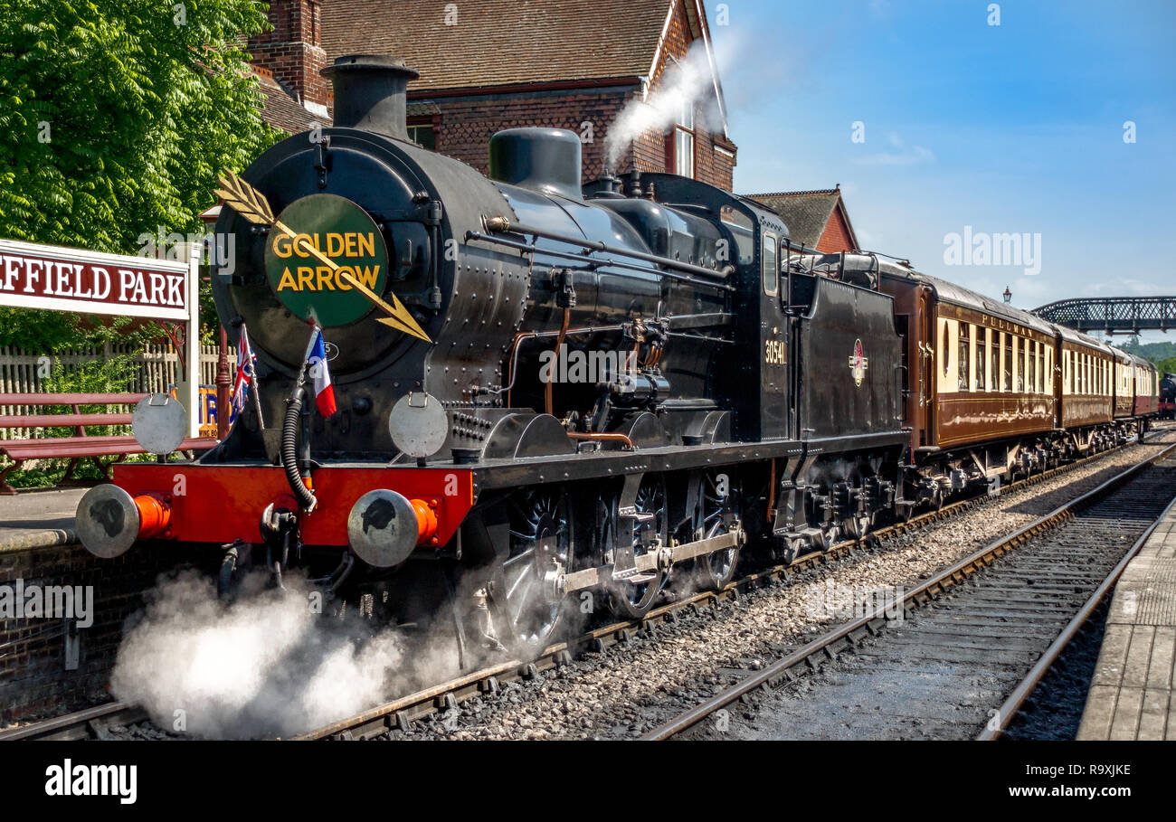 British Railways 30541 on Golden Arrow duty at Sheffield Park station - Stock Image