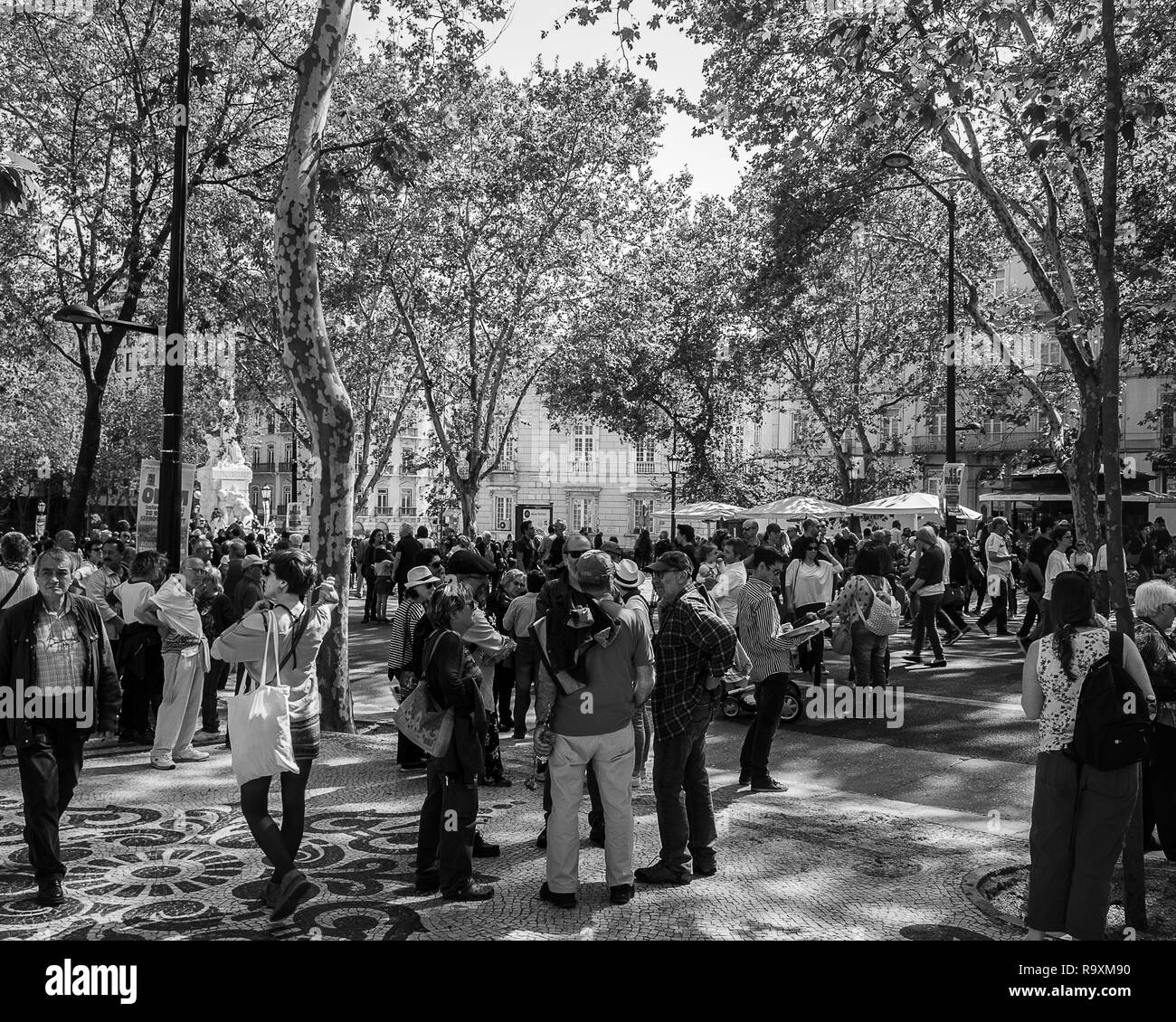 Large group of people celebrating the 25th of April, freedom day in Portugal, Lisbon - Stock Image