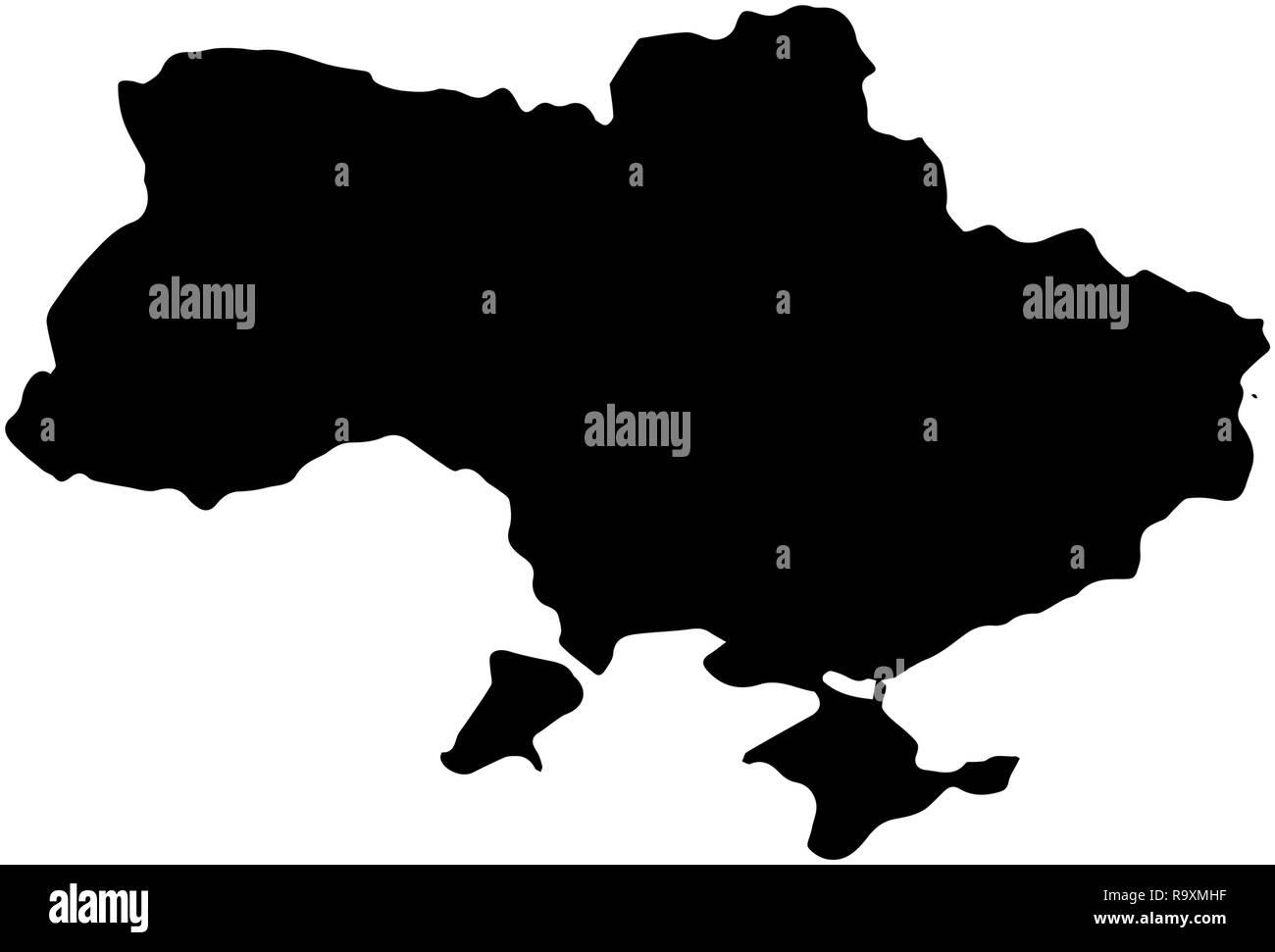 Ukrain Country Map illustration black isolated on white ...