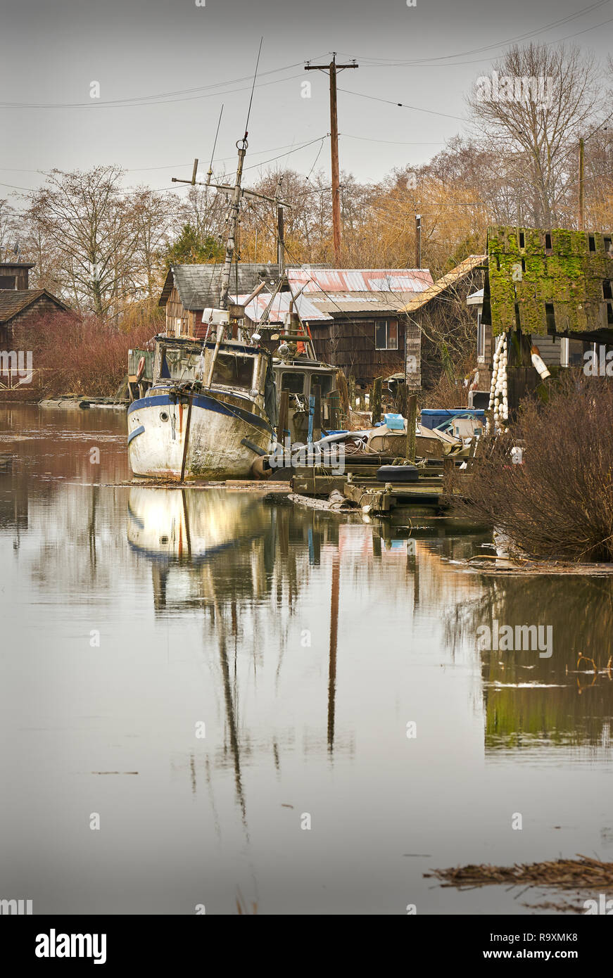 Finn Slough High Water, Richmond. The historic fishing settlement of Finn Slough on the banks of the Fraser River near Steveston in Richmond, British - Stock Image