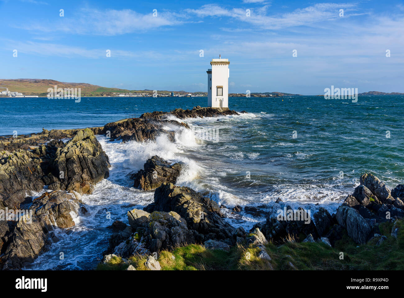 Carraig Fhada lighthouse, near Port Ellen, Islay, Inner Hebrides, Argyll & Bute, Scotland - Stock Image