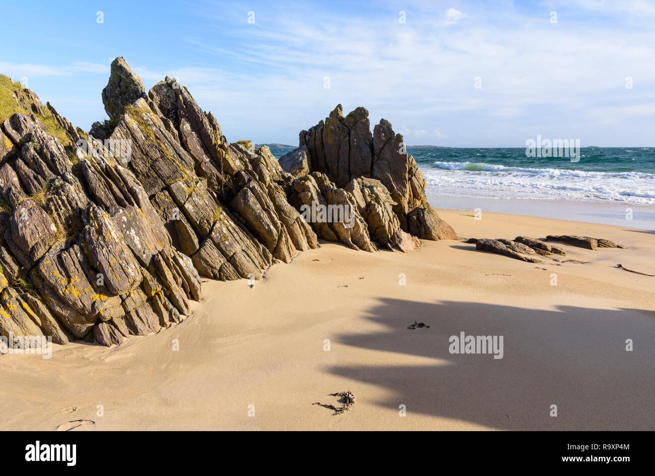 Singing sands of Traigh Bhan beach, near Port Ellen, Islay, Inner Hebrides, Argyll & Bute, Scotland - Stock Image