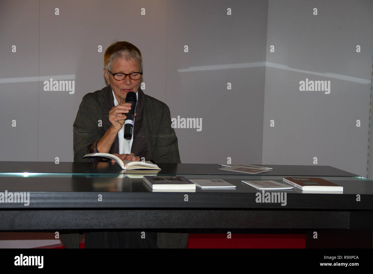 Renate Langgemach presenting the book 'Doppelter Frühling' at the book fair 2016 in frankfurt am main germany - Stock Image