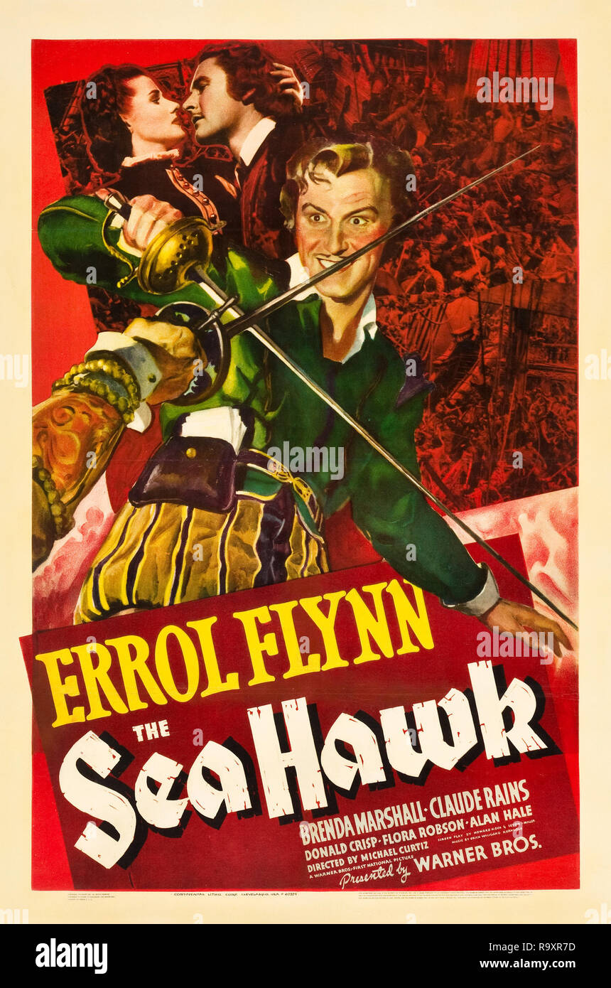 The Sea Hawk (Warner Brothers, 1940) Poster  Errol Flynn  File Reference # 33635_977THA - Stock Image