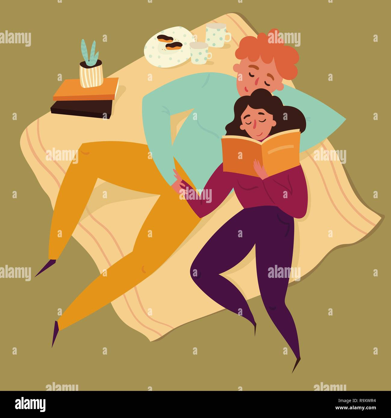 Boy and girl couple reading storybook illustration - Stock Vector