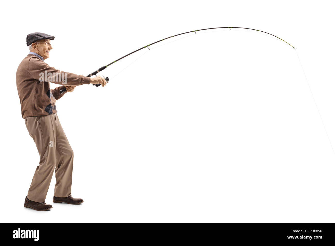 b674f35995774 Full length shot of an elderly man with a fishing rod isolated on white  background -