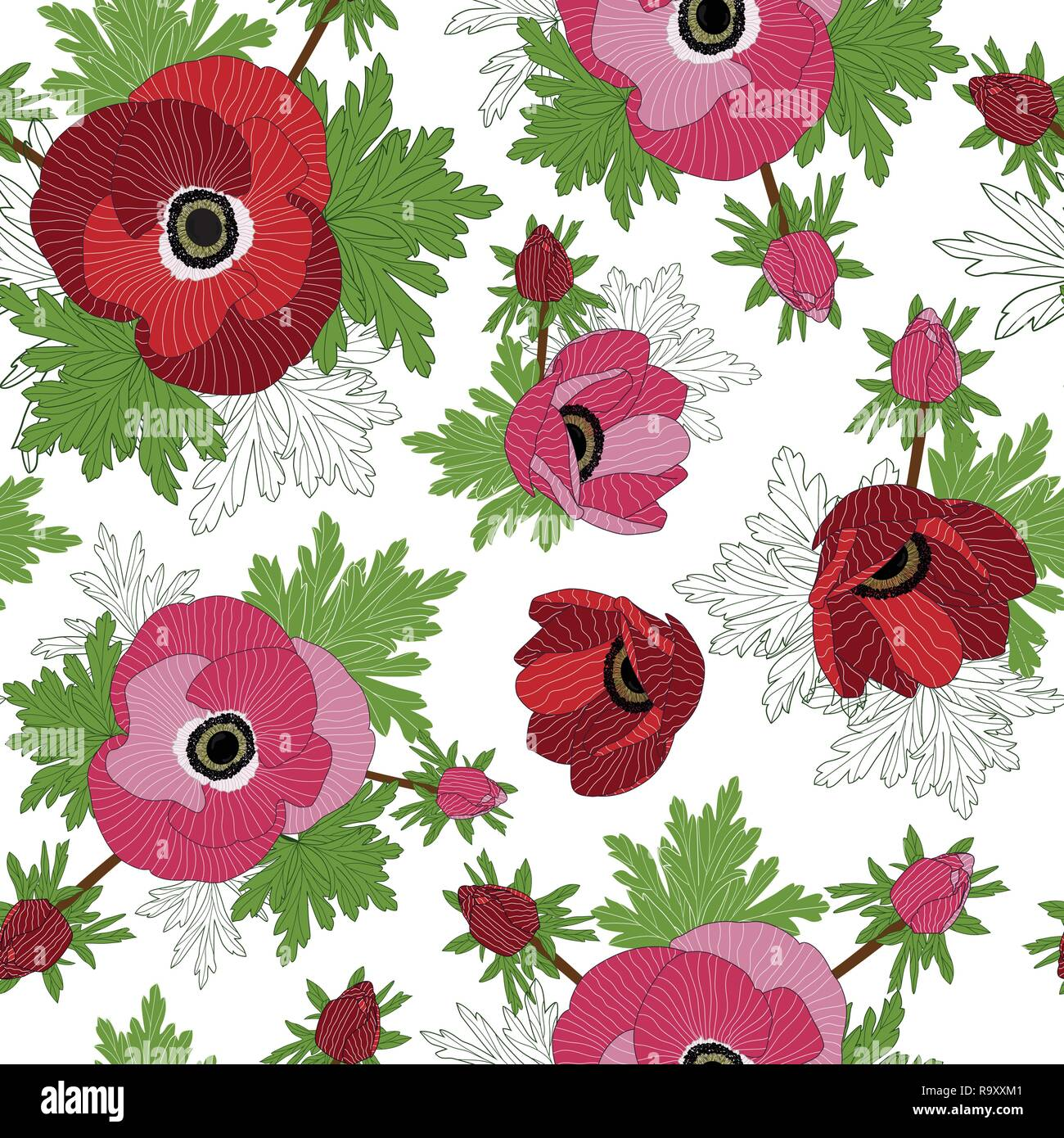 Vector floral repeat seamless pattern with red and pink anemone flowers. - Stock Vector