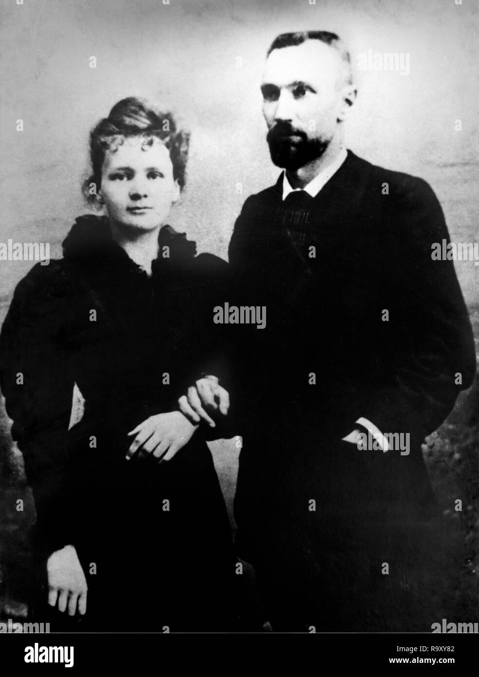 Pierre and Marie Curie. The Nobel prize winning scientist, Marie Skłodowska Curie (1867-1934) and her husband, Pierre Curie (1859-1906). Photo taken in 1895. Stock Photo