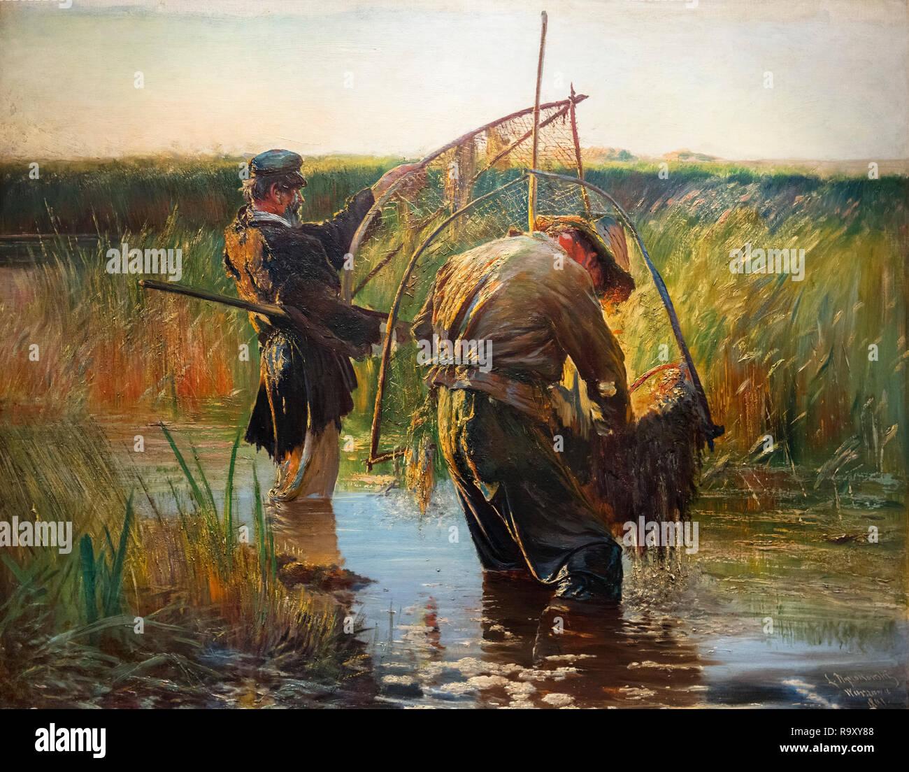 Fishermen by Leon Wyczółkowski (1852-1936), oil on canvas, 1891 - Stock Image