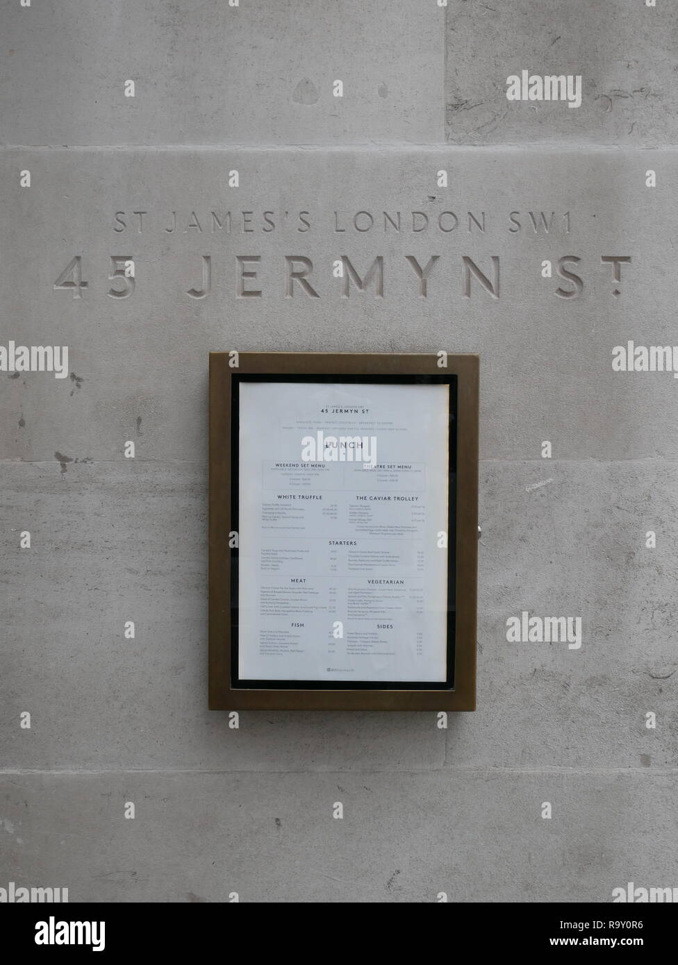 45 Jermyn Street restaurant in St. James, London, England. - Stock Image