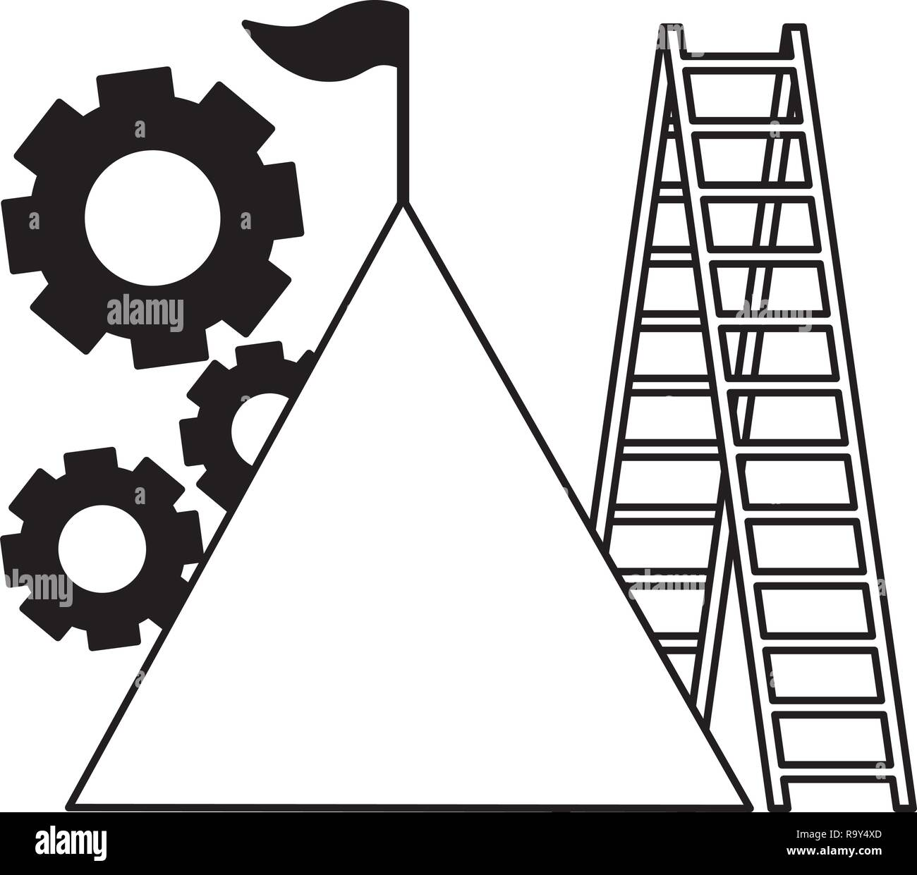 business mountain flag gears and stairs - Stock Vector