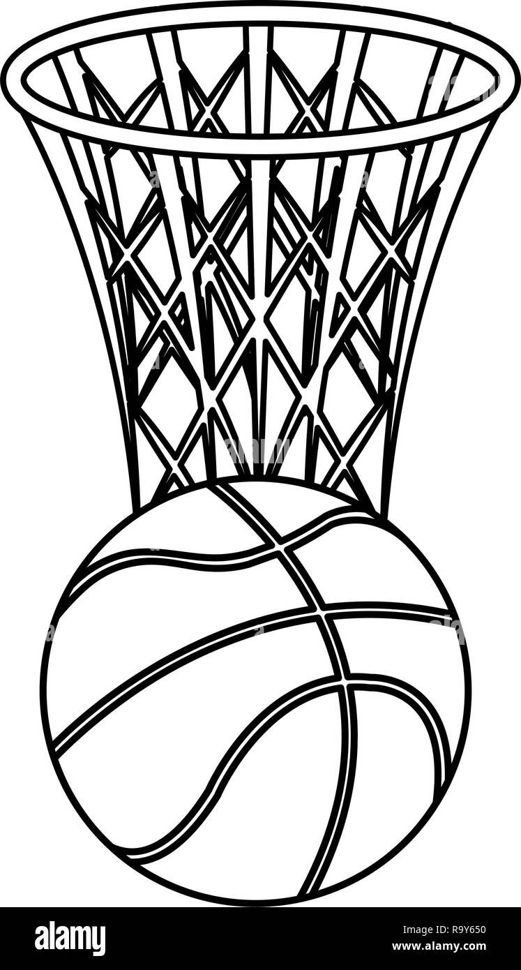 basketball balloon and basket sport vector illustration design - Stock Image