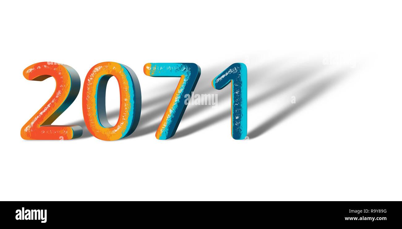 3D Number Year 2071 joyful hopeful colors and white background - Stock Image