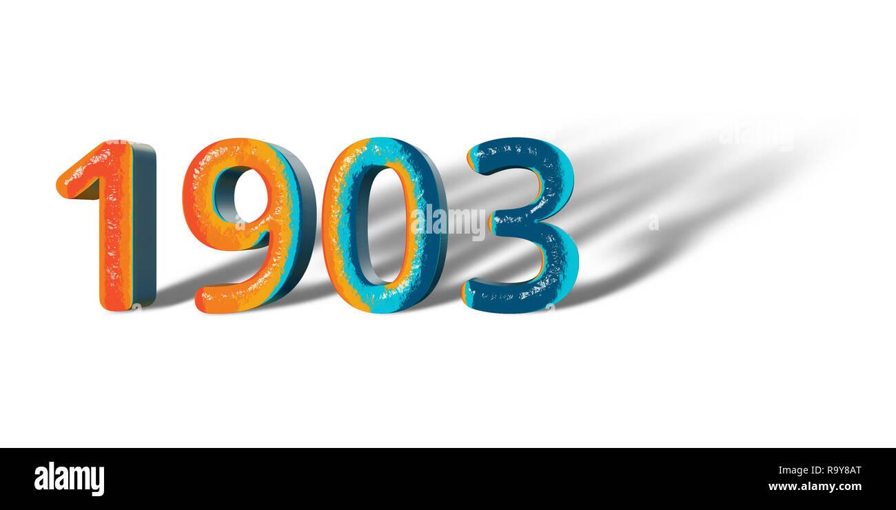 3D Number Year 1903 joyful hopeful colors and white background ...