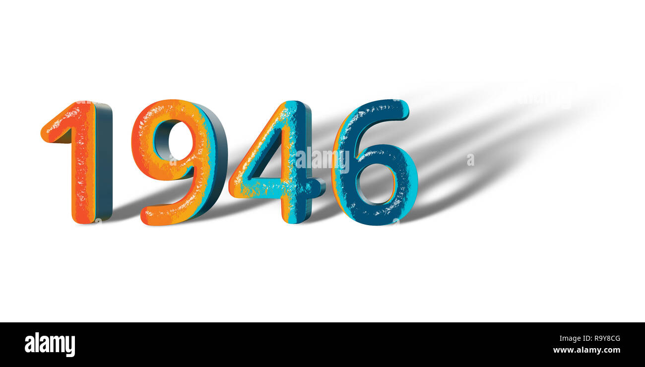 3D Number Year 1946 joyful hopeful colors and white background ...