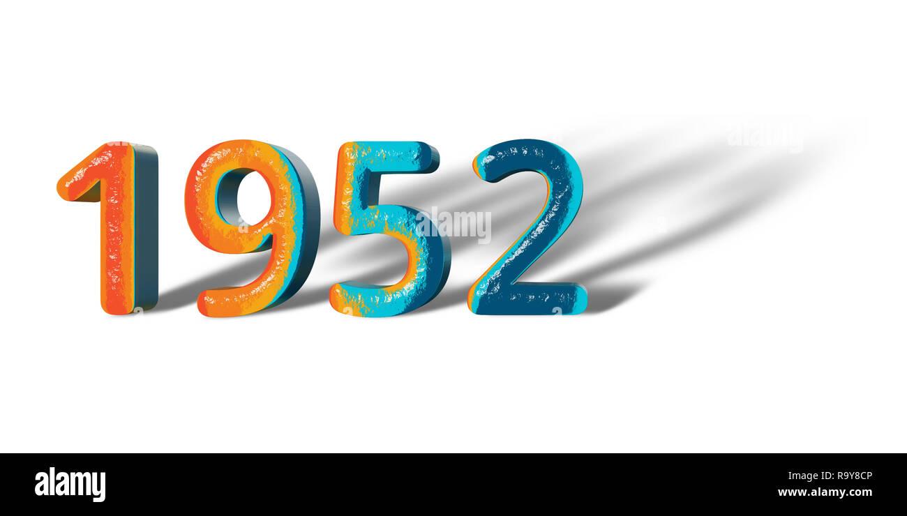 3D Number Year 1952 joyful hopeful colors and white background ...