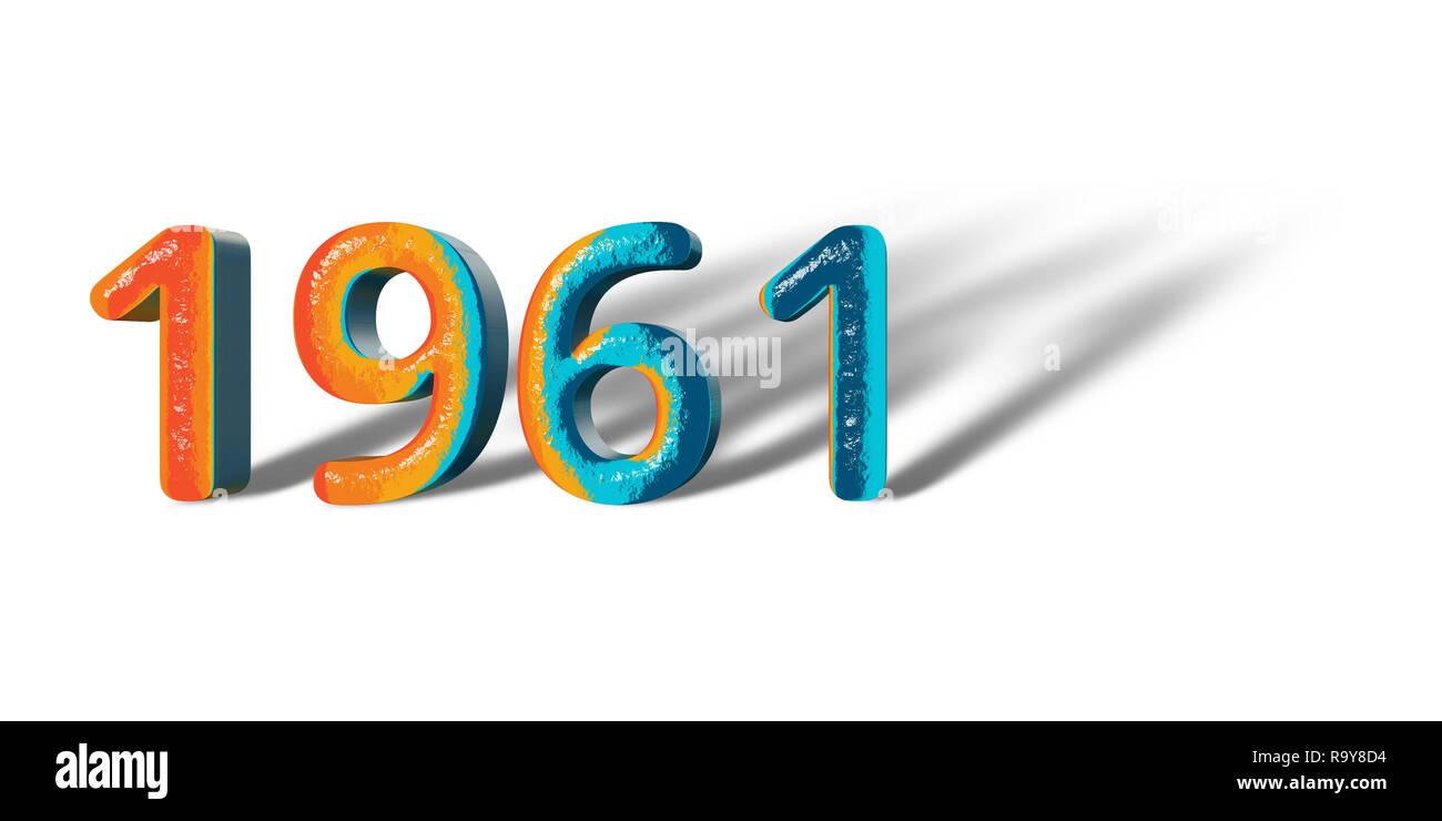3D Number Year 1961 joyful hopeful colors and white background ...
