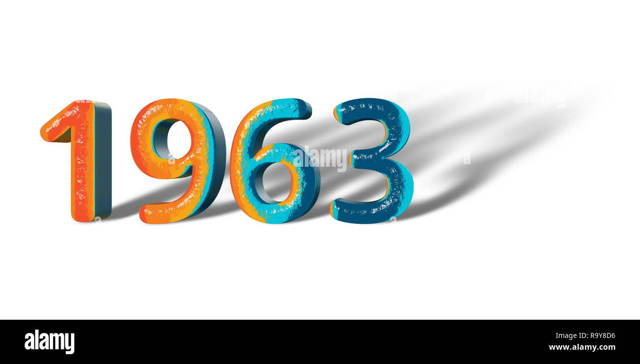 3D Number Year 1963 joyful hopeful colors and white background ...