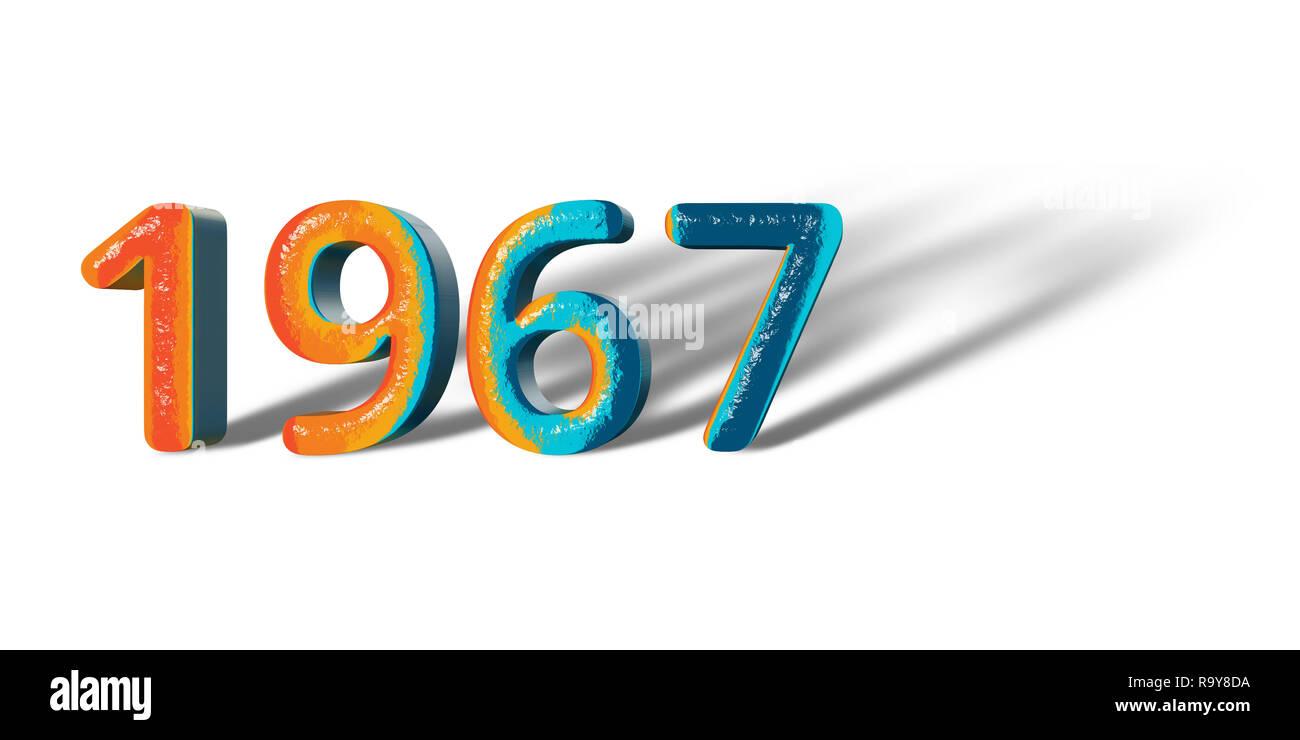 3D Number Year 1967 joyful hopeful colors and white background ...