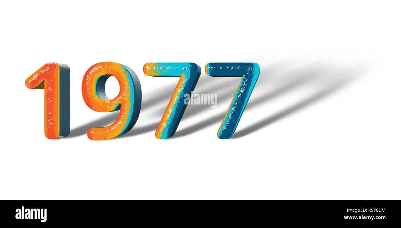 3D Number Year 1977 joyful hopeful colors and white background ...