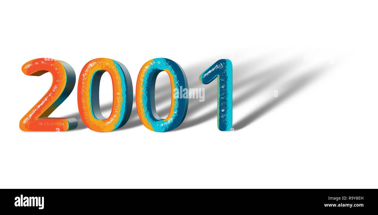 3D Number Year 2001 joyful hopeful colors and white background ...
