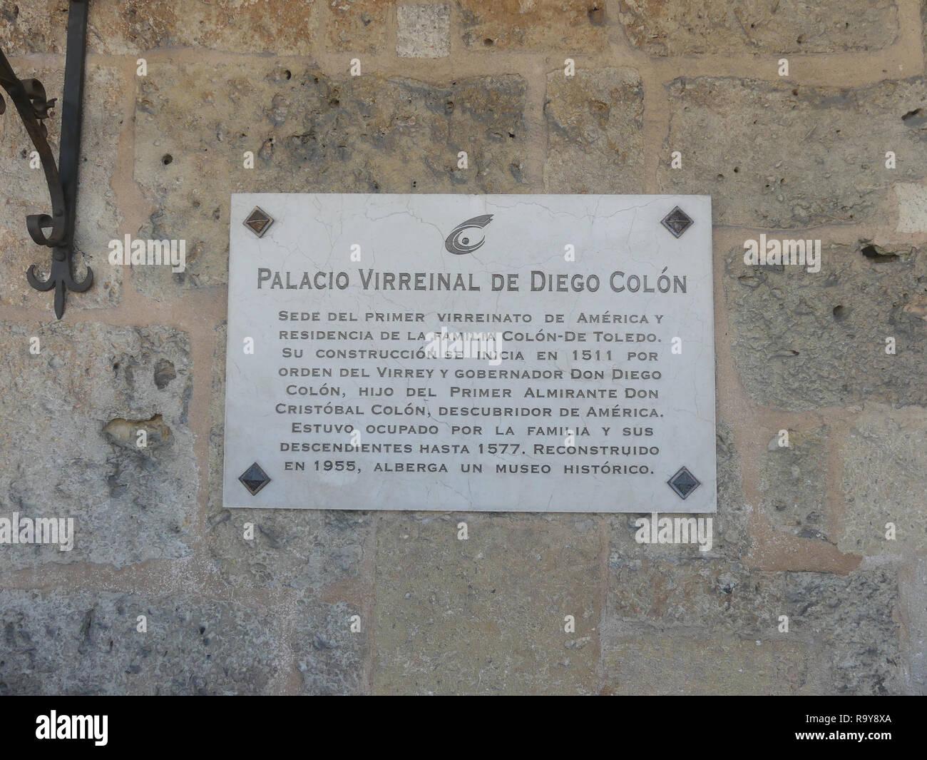COLUMBUS PALACE, Santo Domingo, Dominican Republic. Photo: Tony Gale - Stock Image