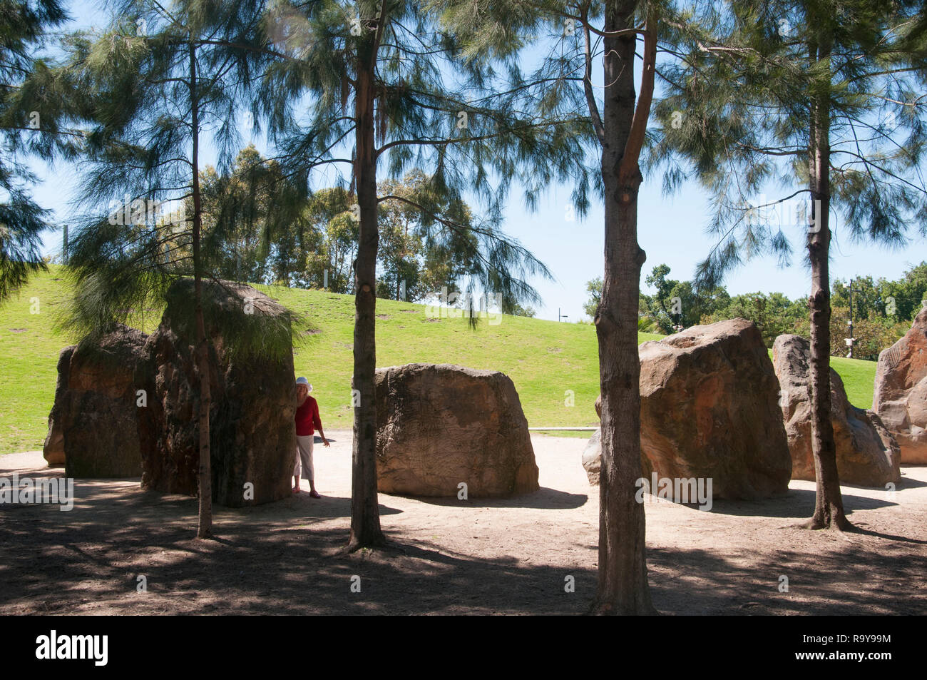 Large boulders at ArtPlay plaground in Birrarung Marr, an inner-city park between the CBD and the Yarra River, Melbourne, Australia. - Stock Image