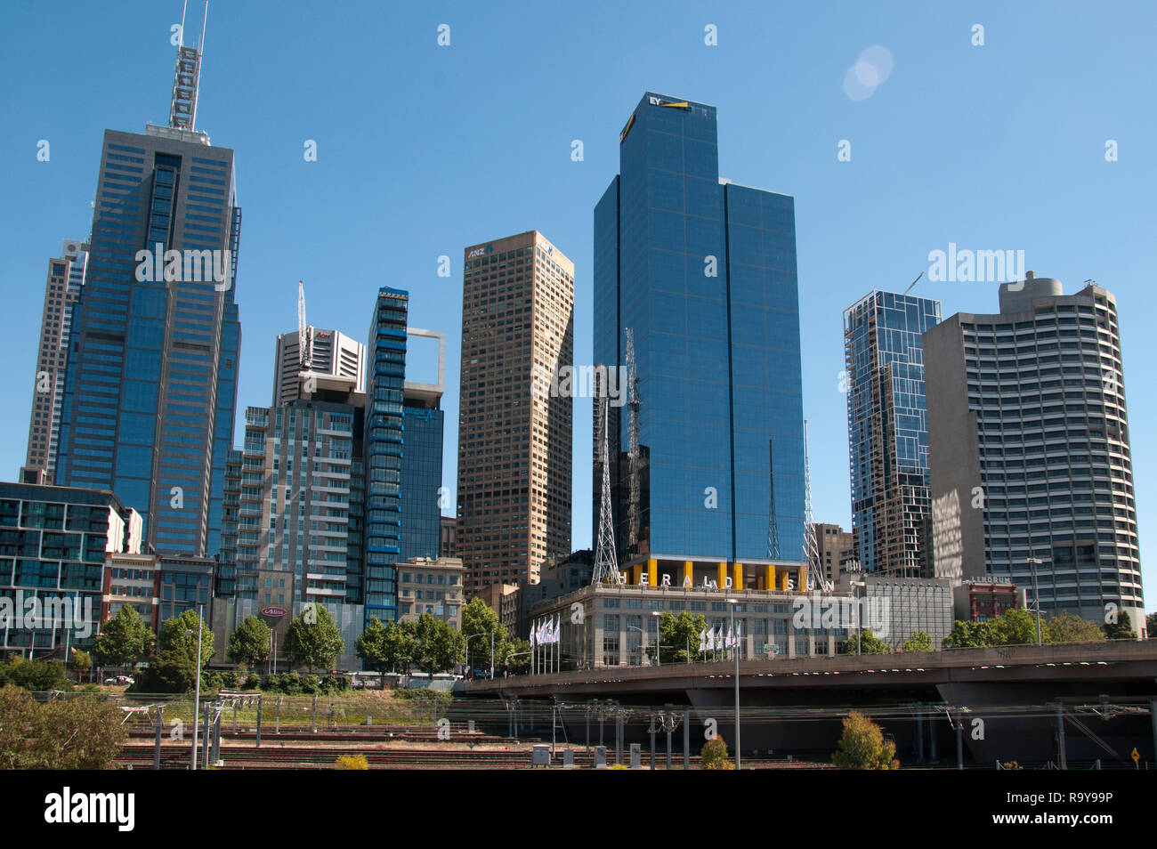 Office towers in the eastern CBD are seen from Birrarung Marr park, Melbourne, Australia, December 2018 - Stock Image