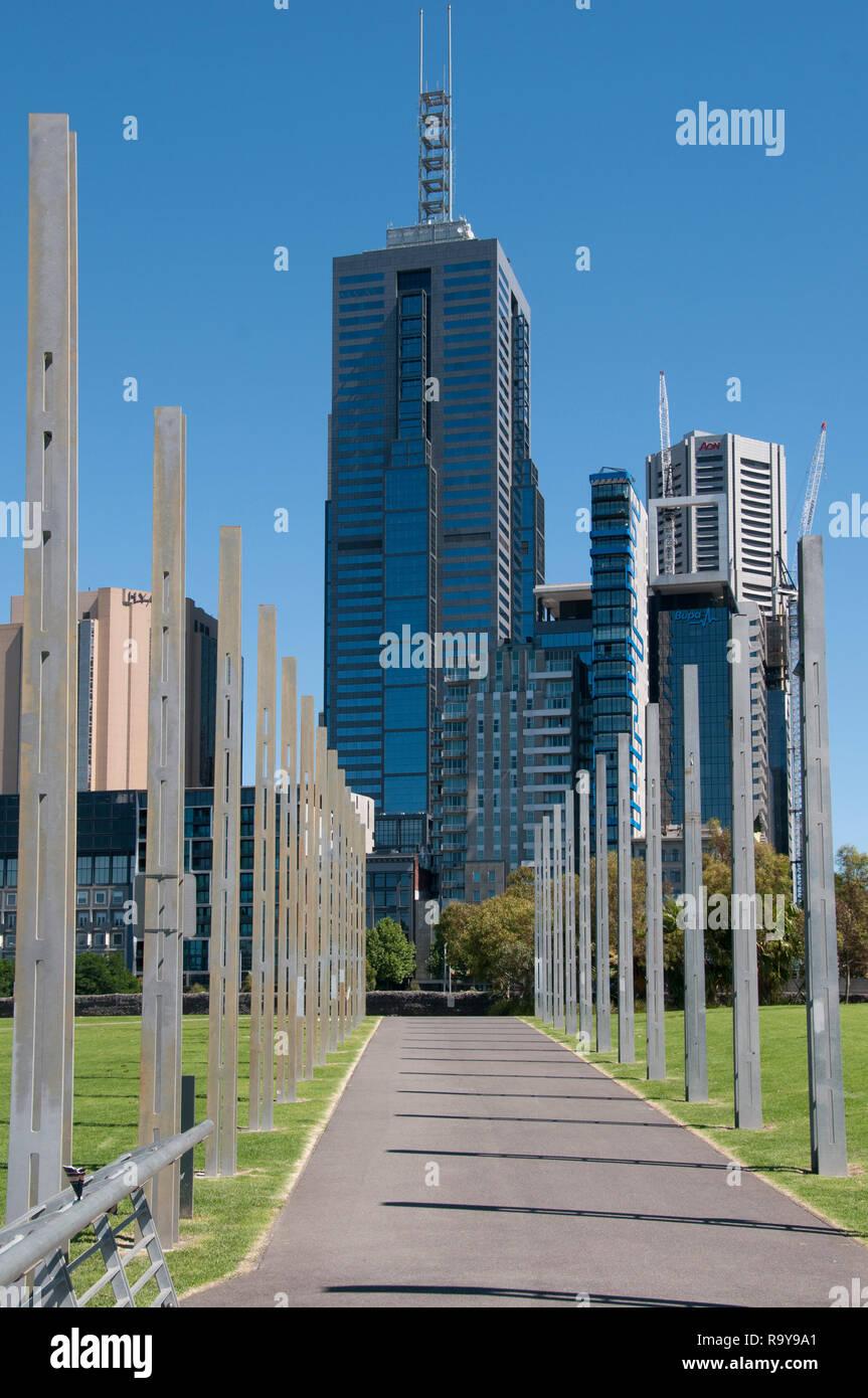Office towers on Flinders Street, seen from Birrarung Marr park, Melbourne, Australia, December 2018 - Stock Image