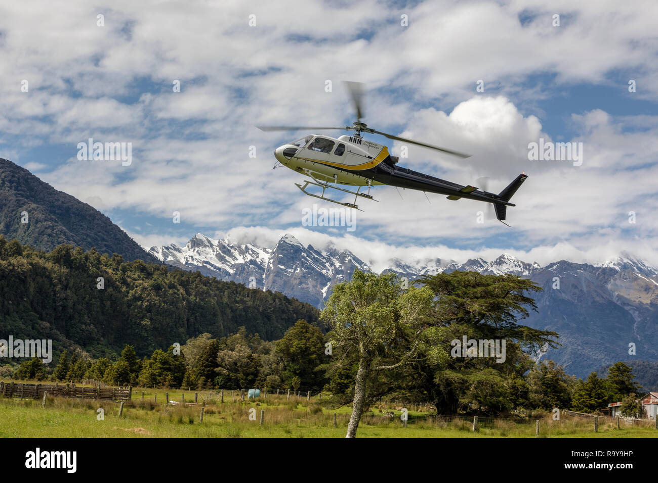 scenic flights over the Southern Alps, South Island, New Zealand - Stock Image