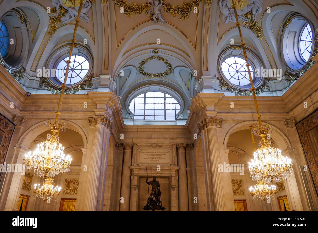Grand staircases, Royal Palace - Palazo Real, Madrid, Spain - Stock Image