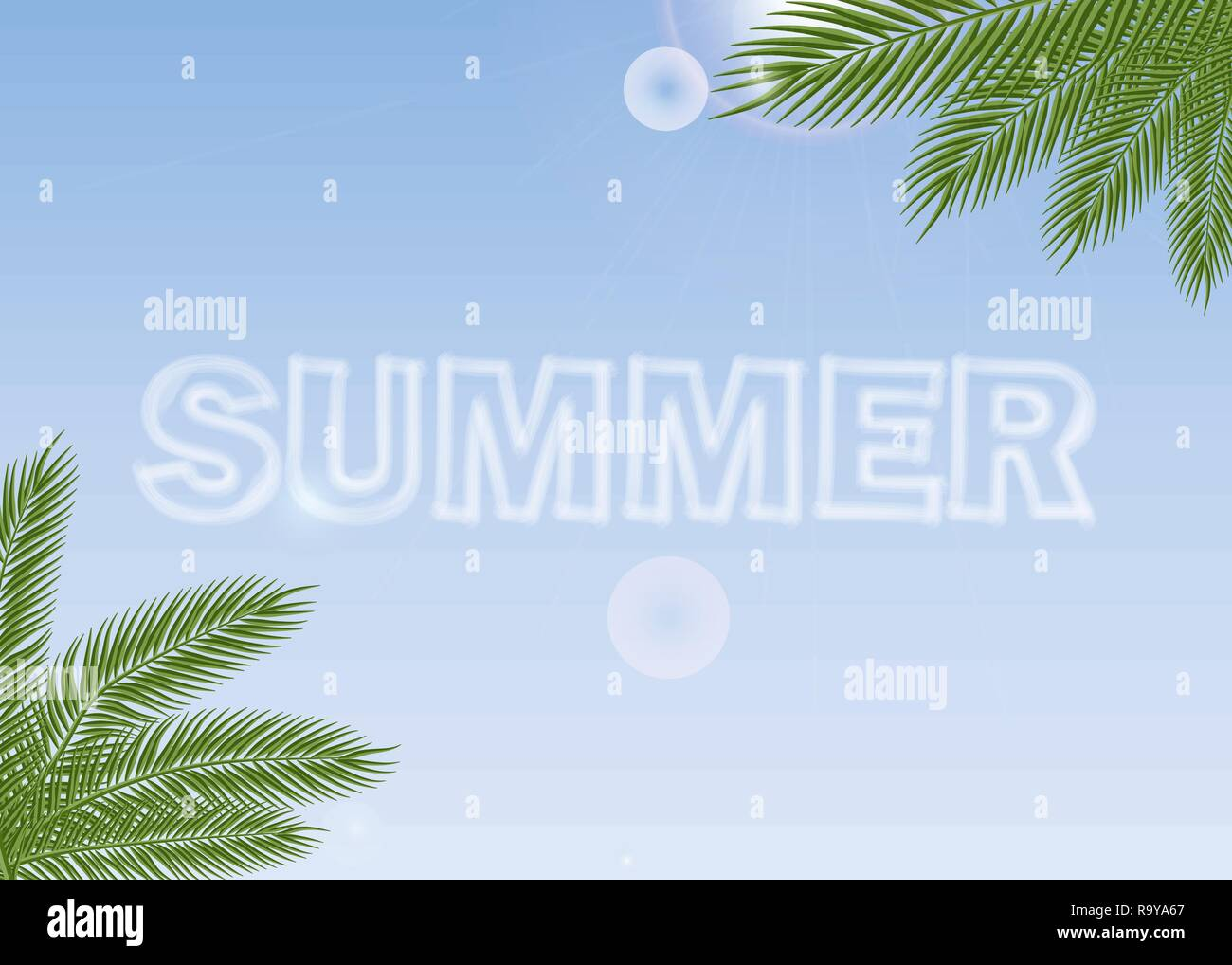 3a2cafcab4a43 Summer Journey poster with tropical palm branches background. 10 eps ...