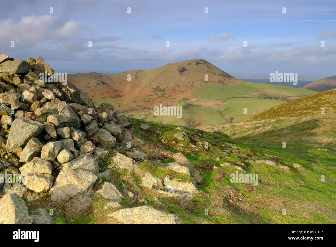 Caer Caradoc hill viewed from Hope Bowdler hill in Shropshire, UK - Stock Image