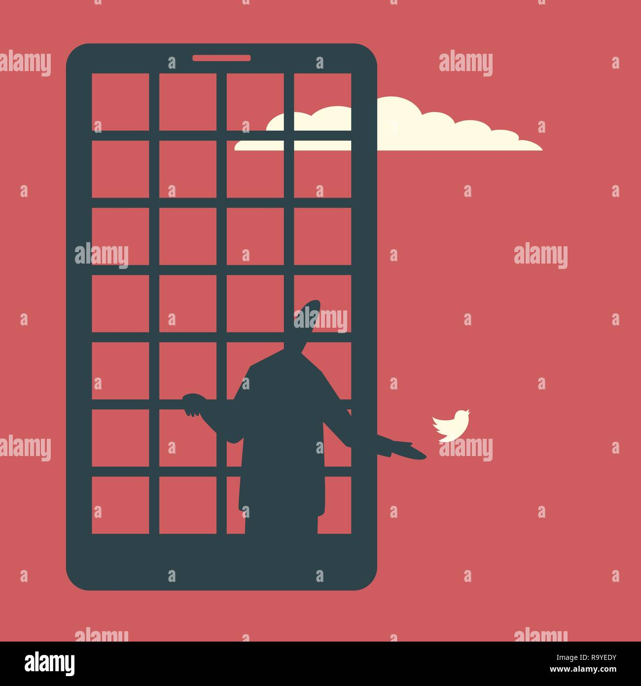 A man behind the jail bars as a smartphone screen lets the bird go. Smartphone addiction concept illustration. - Stock Image