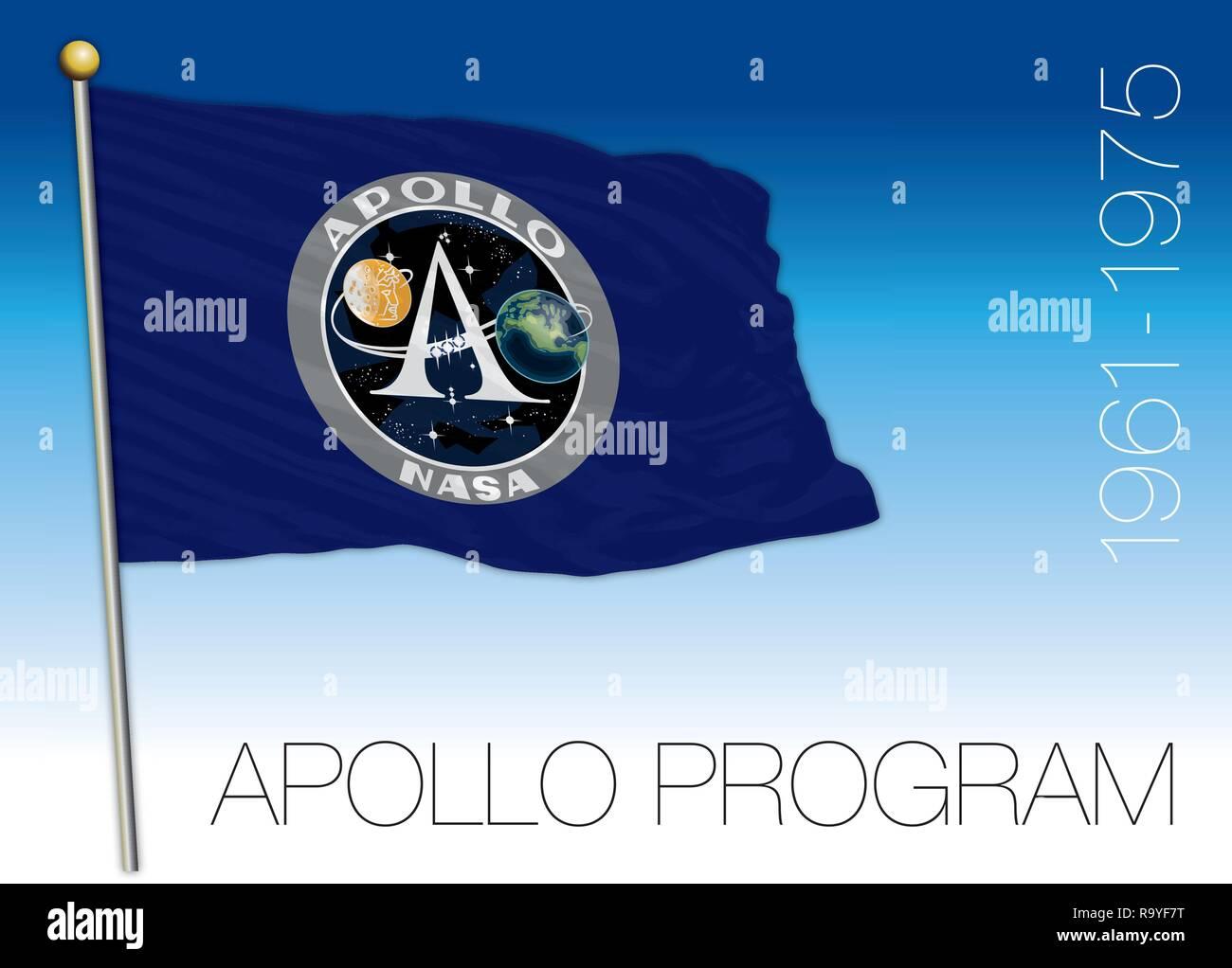 Apollo space exploration program flag, vector illustration, USA - Stock Vector
