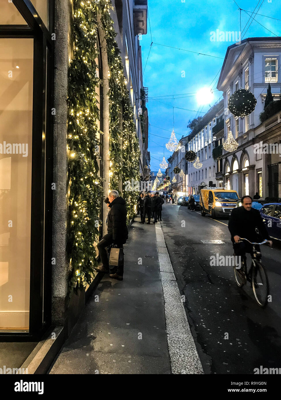 Christmas decoration in Montenapoleone, the street of fashion in Milano, Italy, on december 2018 - Stock Image
