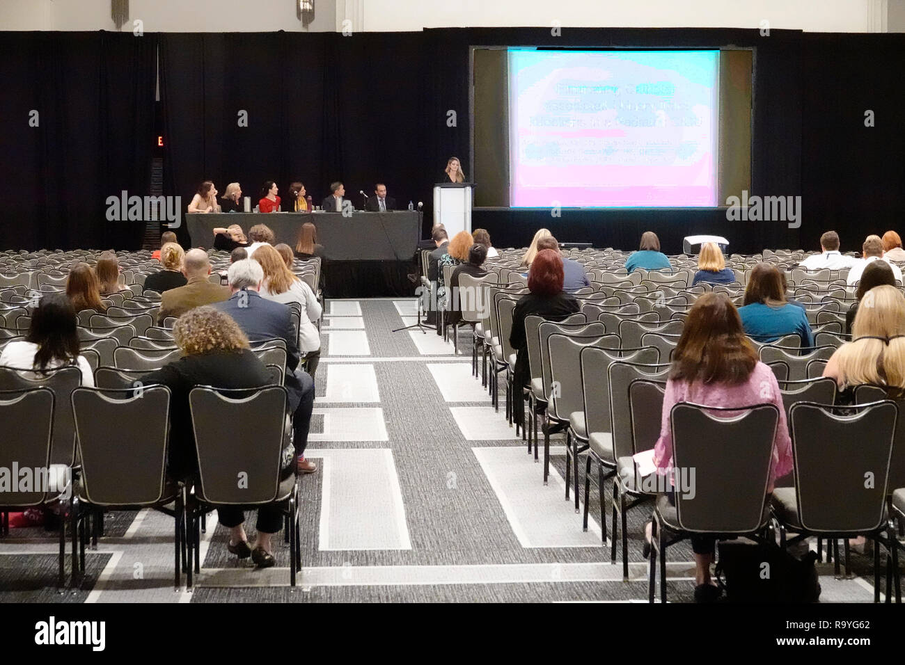 Miami Beach Florida Collins Avenue Loews hotel inside ICEF International Consultants for Education and Fairs conference woman speaker audience - Stock Image