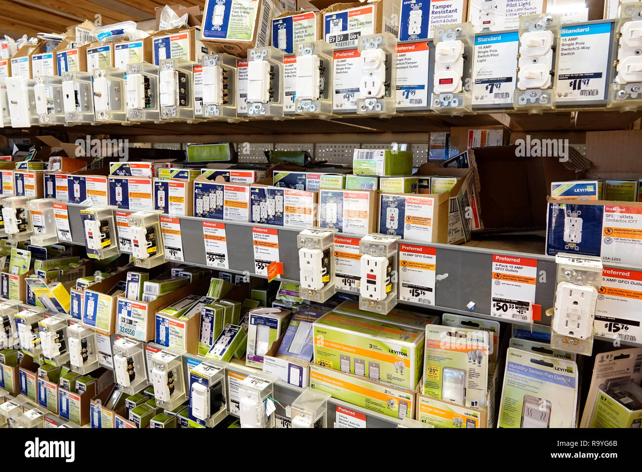 Miami Florida The Home Depot inside hardware big box store GFCI electric outlet outlets light switch switches do it yourself sale display shelves shop - Stock Image