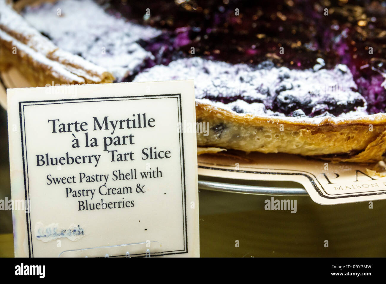 Fort Ft. Lauderdale Florida Sunrise Sawgrass Mills Mall Paul Maison de Qualite Bakery restaurant inside display sale blueberry tart slice dessert Stock Photo
