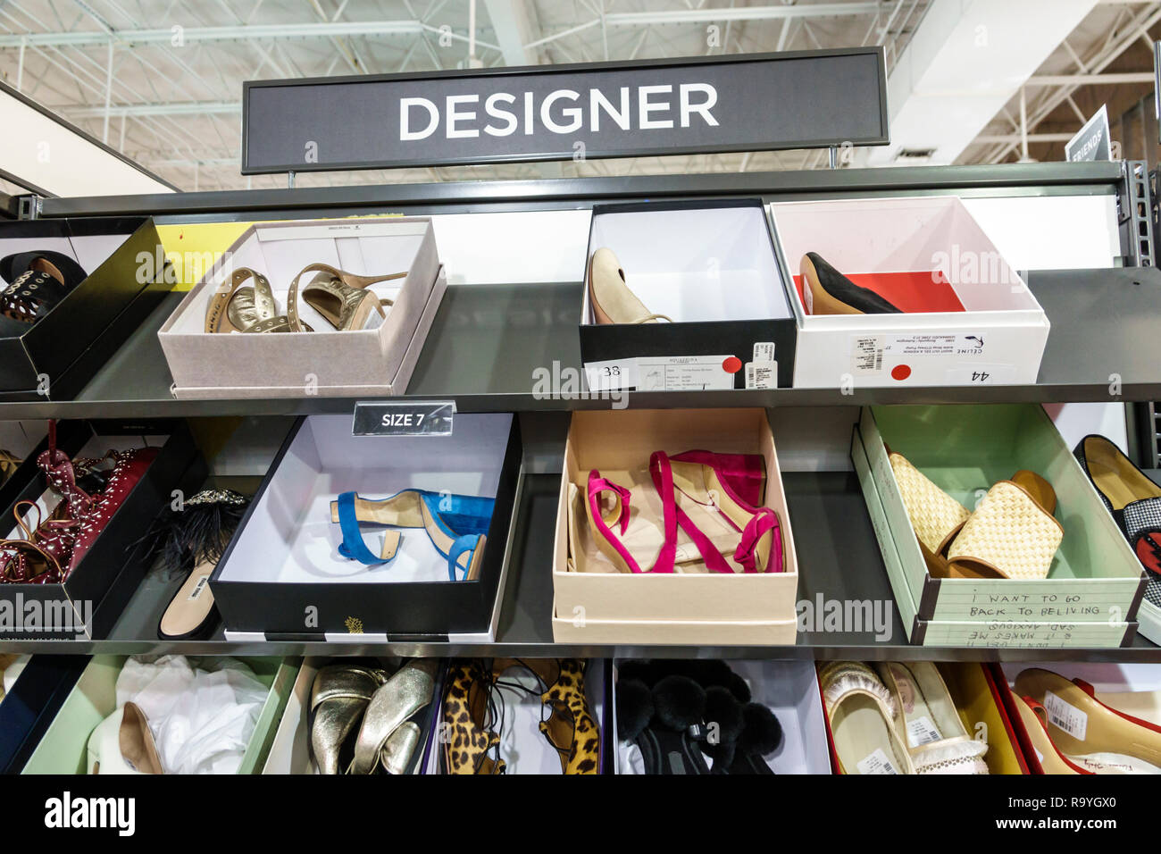 Fort Ft. Lauderdale Florida Sunrise Sawgrass Mills Mall shopping Saks Fifth Avenue Off 5th inside display sale designer sign shoes - Stock Image