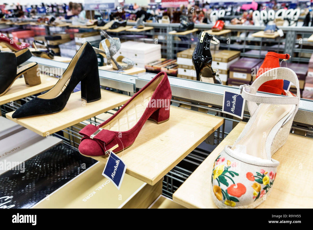 Fort Ft. Lauderdale Florida Sunrise Sawgrass Mills Mall shopping Marshalls Discount Department Store inside display sale women's shoes - Stock Image