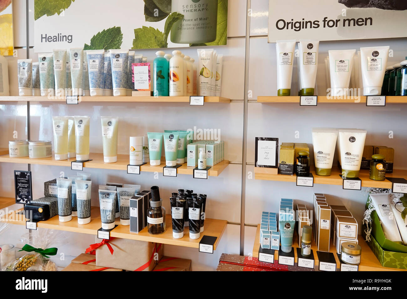 Fort Ft. Lauderdale Florida Pembroke Pines Shops At Pembroke Gardens mall shopping Origins cosmetics beauty products skincare inside display sale - Stock Image