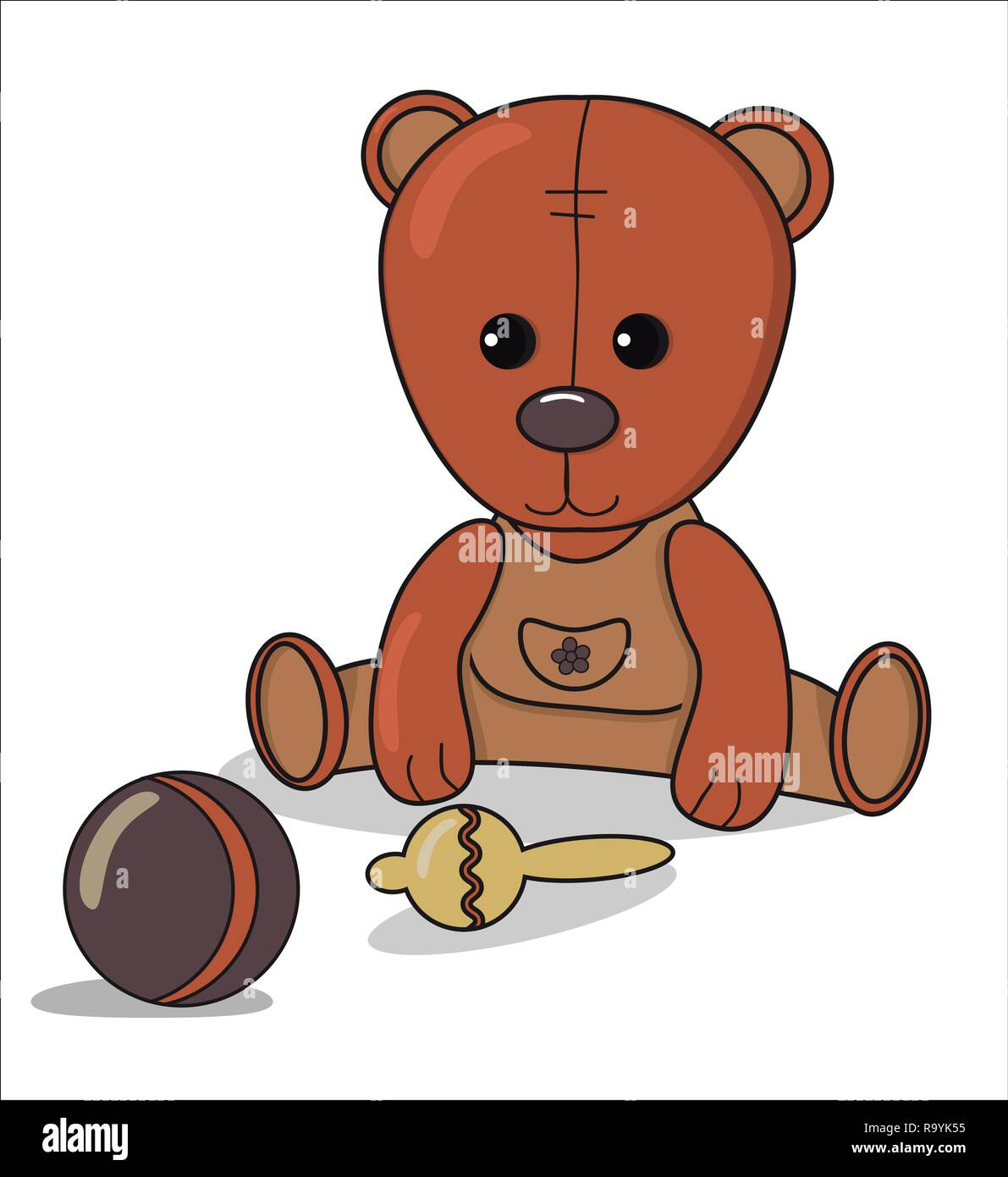 Teddy bear with beanbag , ball, Baby announcement metric card brown and beige color. nursery decor - Stock Vector